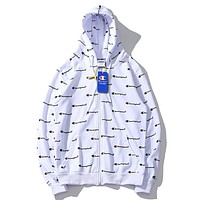 Champion New fashion more letter print hooded couple long sleeve sweater coat White