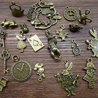 Mix 20/40pcs of  Alice Rabbit Charms Bronze  Silver Alice in Wonderland Charm Pendants, Clock ,Key,Teapot