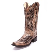 Corral Womens Sequin Inlay Square Toe Cowgirl Boots Tan