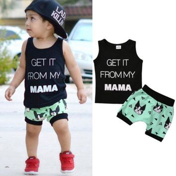 t-shirt + Shorts 2pcs suit 2017 new Summer baby girl Boys clothes cotton Sleeveless Vest letter baby boy clothing sets infant