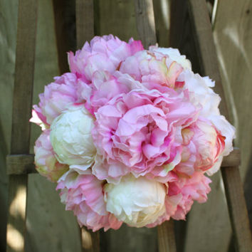 Blush Pink & White Fluffy Peony Wedding Bouquet - Wrapped with Rustic Twine Wire and Cream Burlap Ribbon
