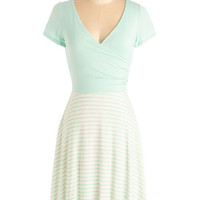ModCloth Pastel Mid-length Short Sleeves A-line Botanical Breakfast Dress in Mint Stripes