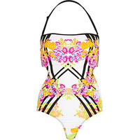 River Island Womens Pink geometric floral print swimsuit