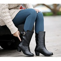 Buckle Motorcycle Boots High Heels Shoes Woman