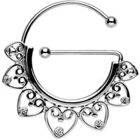 Clear Gem Stainless Steel Filigree Heart Universal Nipple Ring | Body Candy Body Jewelry