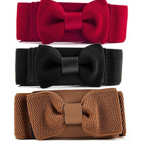 Women Graceful Bowknot Elastic Lovely Belt With Buckle Waistband 4 Colors  7_S = 1916280388