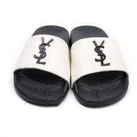 YSL Women Simple Logo Flag Slippers Leisure Shoes B104470-1 White