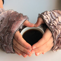 Fingerless Gloves, cozy hand knitted mittens Hand  Knit elegant ruffled pale taupe  gloves, frilly gloves pale taupe  colored ruffle crayola