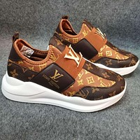 LV Louis Vuitton new women's shoes one-step low-top casual shoes sports shoes sneakers Coffee&Brown