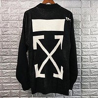 Off White New fashion letter cross arrow print couple long sleeve top sweater Black