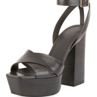 Saint Laurent Farrah Leather Platform Sandal