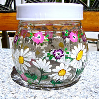 Hand Painted Glass Jar With Lid, Hand Painted Sugar Bowl