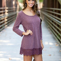 Fuchsia Long Sleeve Lace Trimmed Dress