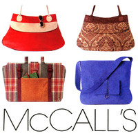 Handbags Pattern Uncut McCalls M4608 Purses, Bags, Tote Bags, Carry All Bags, Fabric bags, Canvas Bags, Accessories Womens Sewing Patterns