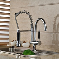 Double Swivel Spout Spring Pull Out Kitchen Faucet