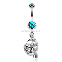 Puffed Heart Lock & Key Charm Dangle Belly Ring (Teal)