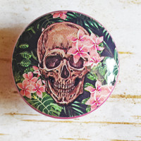 Hawaiian Skull Knob Drawer Pulls, Pink Flowers, Birch Wood Knobs, Tropical Style Cabinet Pull Handles, Skeleton Dresser Knobs, Made to Order