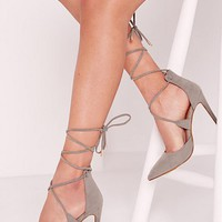Missguided - Grey Lace Up Court Shoes