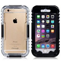 iPhone 6 Waterproof Case, iThroughTM iPhone 6 Waterproof Case, Dust Proof, Snow Proof, Shock Proof Case, Heavy Duty Carrying Cover Case for iPhone 6 , iPhone 6S (Black)