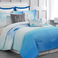 Cloudy Teal Skye Hotel Six-Piece Comforter Set | Something special every day