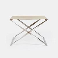 Fritz Hansen — Pk91 Folding Stool, Satin Brushed Stainless Steel, Canvas — THE LINE