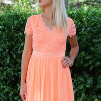 Sunset Boulevard Neon Coral Lace Dress