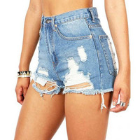 Worn & Torn High Waist Denim Cutoff Shorts