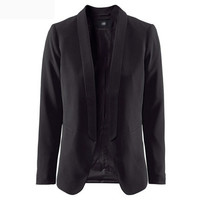 Solid Long-Sleeve Shawl-Collar Blazer