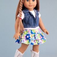 Feeling Happy - 4 piece outift - skirt, white t-shirt, blue jeans vest and white cowgirl boots - 18 inch American Girl Doll Clothes (doll not included)