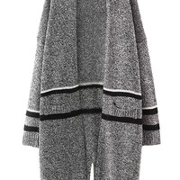 Gray Stripe Pocket Detail Open Front Long Sleeve Slit Cardigan