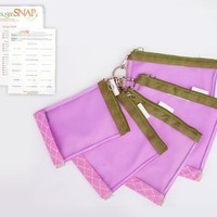 sugarSNAP Files Customizable Diaper Bag Organizer Mesh Pouches, with Labels (pink and green)