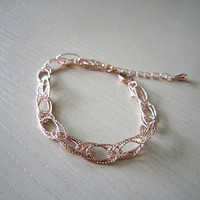 bridesmaid bracelet and necklace-Oval strung Bracelet-rose gold necklace,rose gold bracelet-party necklace-sweet necklace-perfect best gift