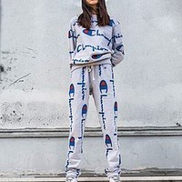 Champion Two Piece Women Men  Round Neck Print Long pants Sports Suit Grey