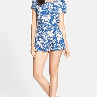 Glamorous Floral Print Pleat Front Romper