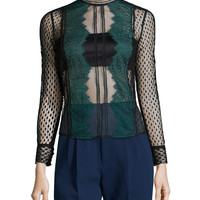 Long-Sleeve Sheer Lace-Trim Top, Black/Green, Size:
