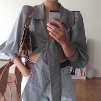 Sexy V Neck Plaid Women Crop Tops Blouse Casual Holiday Long Sleeve Short Blouse Bow Lace up Shirt Blusa