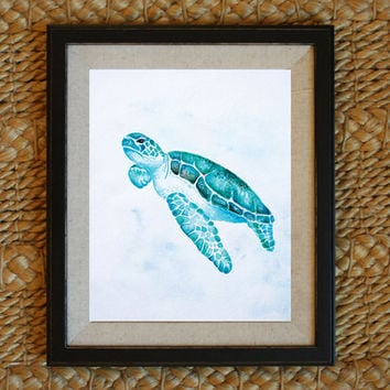 Turtle Watercolor Painting Coastal Decor Coastal Wall Art Ocean Theme Art Ocean Theme Nursery Art 8x10 11x14