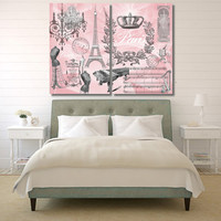 Huge XXL Pink Paris Print on 2 Stretched Canvas Panels Collage 48x36 inches