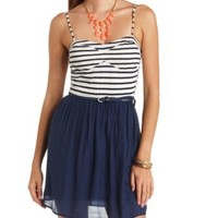 Striped Color Block Skater Dress by Charlotte Russe - Navy Combo