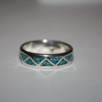 Men's Size 11.75 Vintage Sterling silver with Turquoise Free US shipping