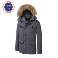 Big Fur 2017 Brand New Mens thick Goose Down Banff Parka Coat Winter Warm Jacket  with Removeable Raccoon fur
