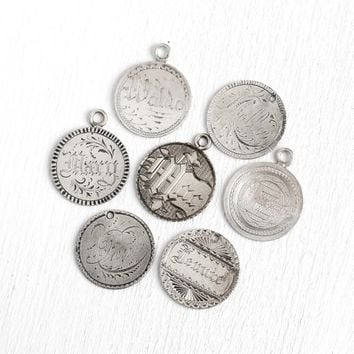 Victorian Love Tokens - Silver Antique Charms , Pendants - 1800s Coins Hand Engraved Jewelry - Paul, Jennie, Mollie, Mac, Mary, Waldo, E