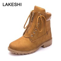 LAKESHI Women Boots 2018 Autumn And Winter Ankle Boots Female Lace-Up Martin Boots Casual Shoes Women Tooling Boots Ladies Shoes
