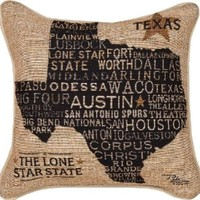 "Americana Collection ""Texas Pride"" Throw Pillow with White Piping, 18 by 18-Inch, USA Texas from Pela Studios"