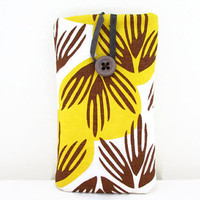 Retro print phone case , hand printed yellow and brown leaf print fabric sleeve cover  Iphone 6 5s 5c 4s samsung galaxy s2  , UK seller