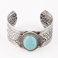 Turquiose Stone Centered Carved Cuff Bracelet