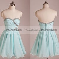 Sweetheart Light Blue Strapless Beading Lace Up Pleated Short Party Dress,Bridesmaid dresses,cocktail dresses,evening dresses