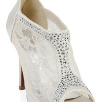 lace high heel bootie with stones and zip back - debshops.com