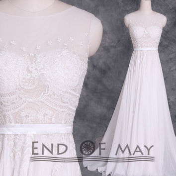 O Neck Beading Embroidery Long Wedding Dresses,Chiffon Wedding Dresses,Wedding Dresses Long,Wedding Dresses
