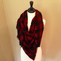Red and Black Checker Chic Blanket Scarf by KnitPopShop